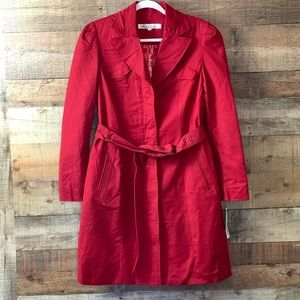 Kenneth Cole red Belted Trench Coat Capelet Large